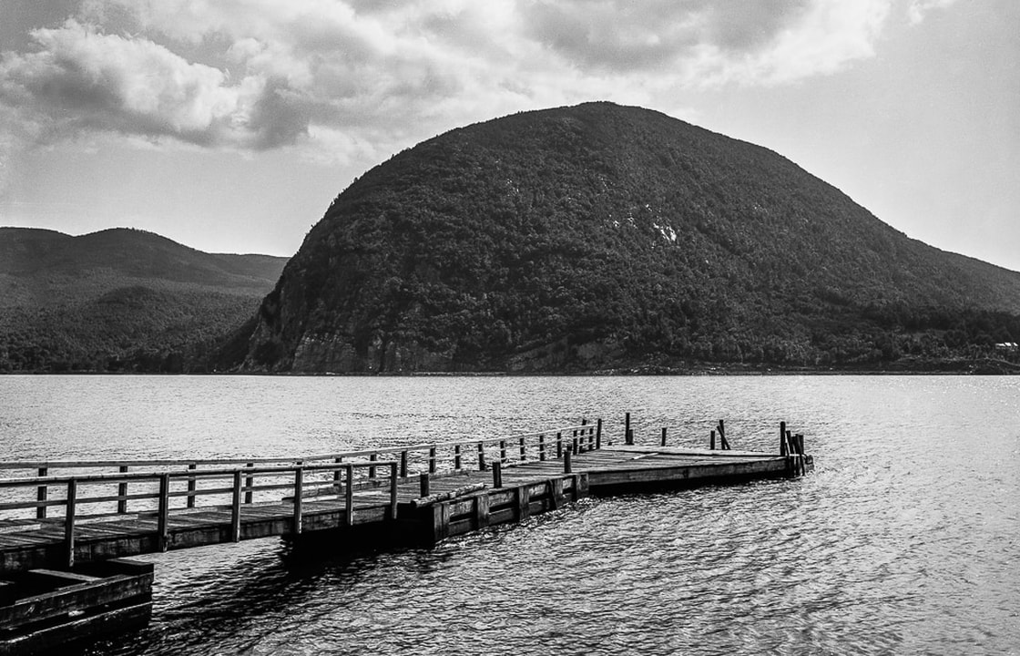 Storm King Mountain on the Hudson River, New York, by William Henry Jackson, 1880. Restored by John Morzen, 2017.